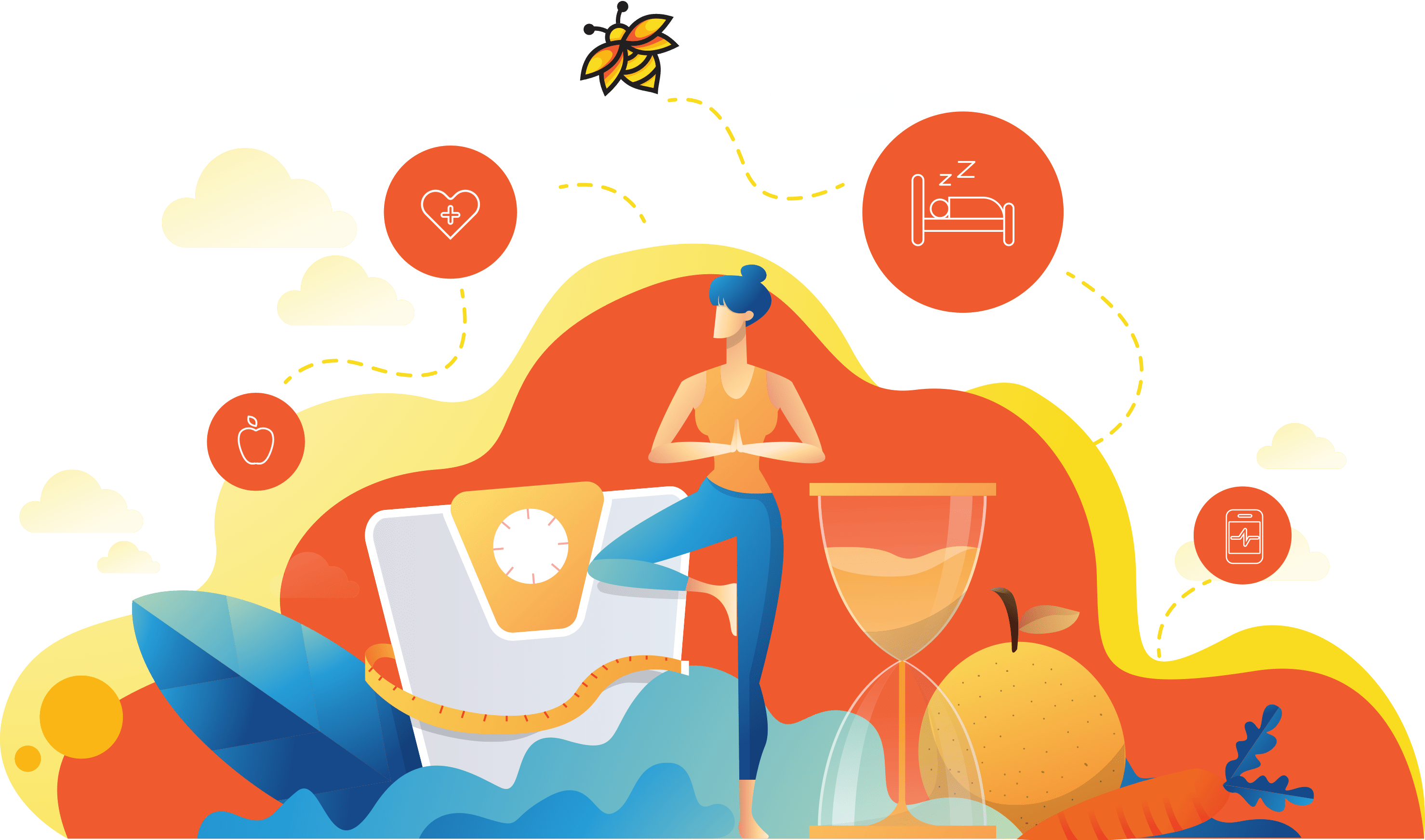 Vector image depicting various lifestyle changes like food, exercise, sleep, screen time to be followed for weight loss